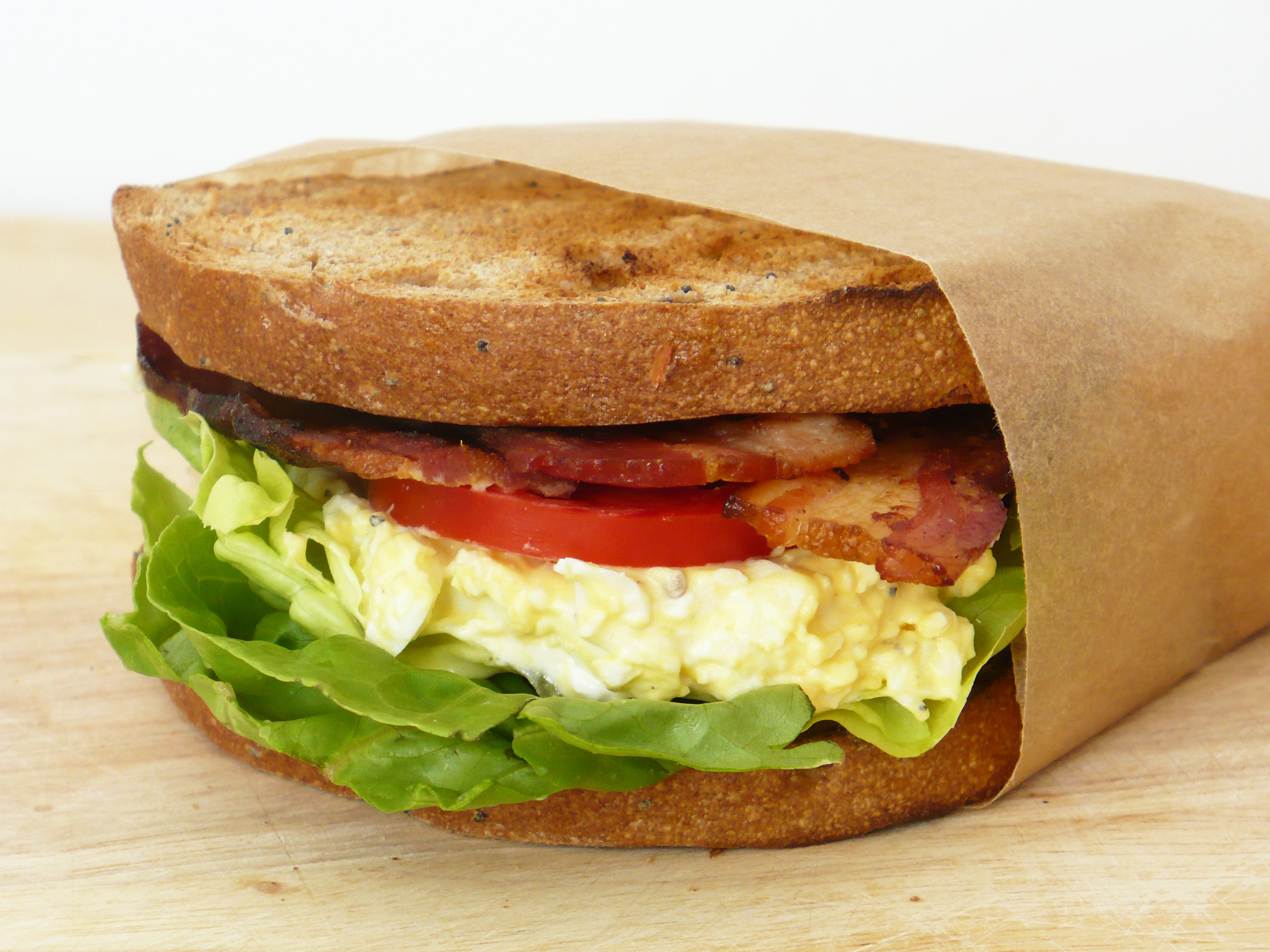 Bacon, Egg Salad, Lettuce and Tomato Sandwich